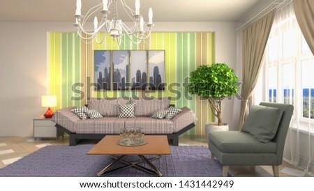 Interior of the living room. 3D illustration. #1431442949