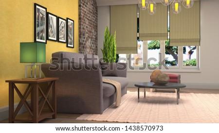 Interior of the living room. 3D illustration. #1438570973