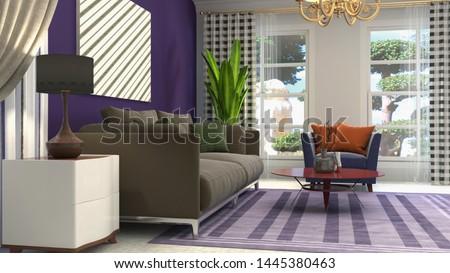 Interior of the living room. 3D illustration. #1445380463
