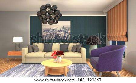 Interior of the living room. 3D illustration. #1451120867