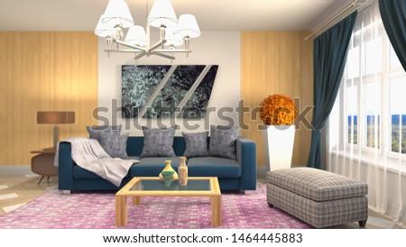 Interior of the living room. 3D illustration. #1464445883