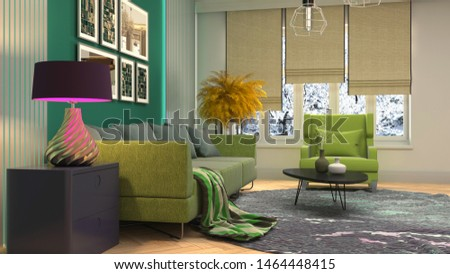 Interior of the living room. 3D illustration. #1464448415