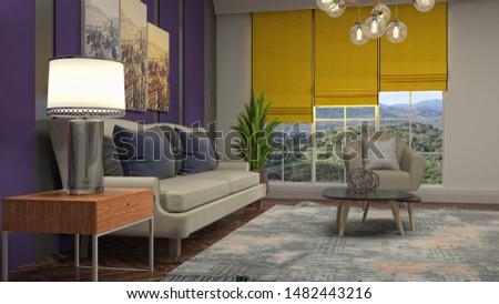 Interior of the living room. 3D illustration. #1482443216