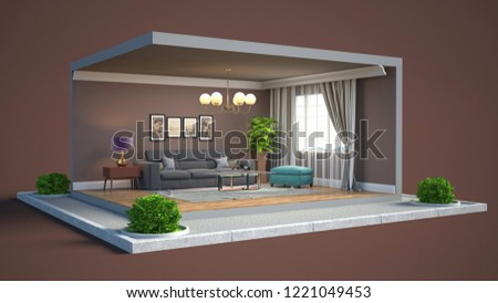 Interior of the living room in a box. 3D illustration #1221049453