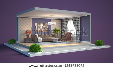 Interior of the living room in a box. 3D illustration #1265933092