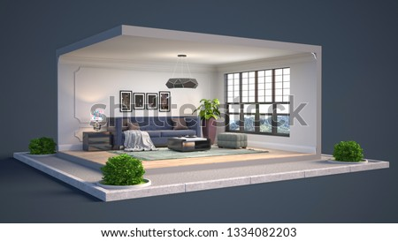Interior of the living room in a box. 3D illustration #1334082203