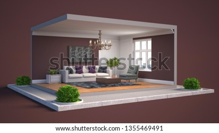 Interior of the living room in a box. 3D illustration #1355469491