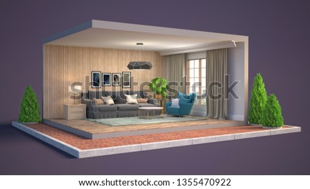 Interior of the living room in a box. 3D illustration #1355470922