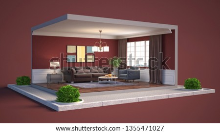 Interior of the living room in a box. 3D illustration #1355471027