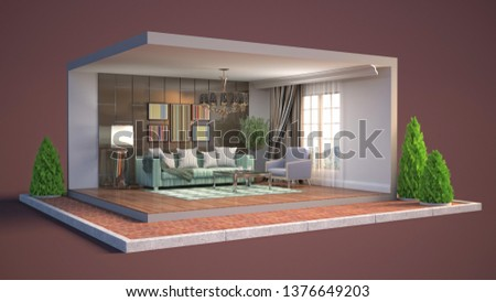 Interior of the living room in a box. 3D illustration #1376649203