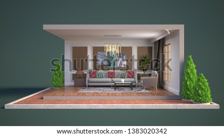 Interior of the living room in a box. 3D illustration #1383020342