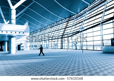 interior of the modern  architectural  in shanghai pudong airport. #57610168