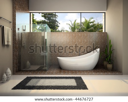 Interior of the modern bathroom 3D rendering