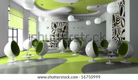 Interior of the modern cafe 3D rendering