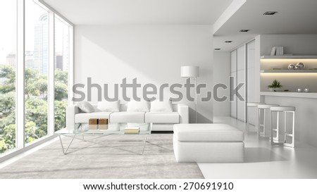 Interior of the modern design  loft in white  3D rendering