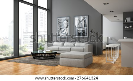 Interior of the modern design  loft with parquet floor 3D rendering