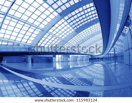 interior of the modern mall of beijin airport subway station. #115983124