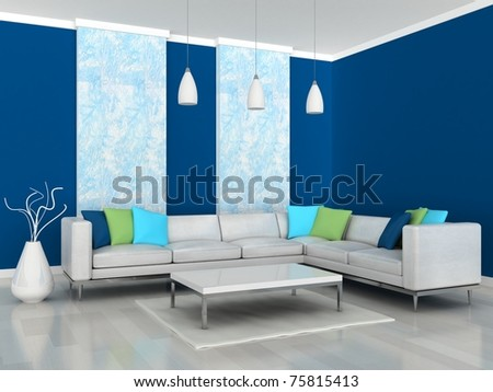 Interior of the modern room, blue wall and white sofa - stock photo