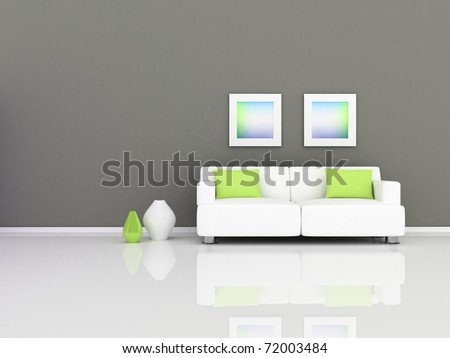 Interior of the modern room, grey wall and white sofa - stock photo