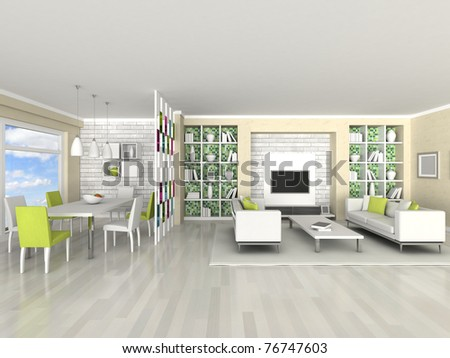 Interior of the modern room, living room, dining room