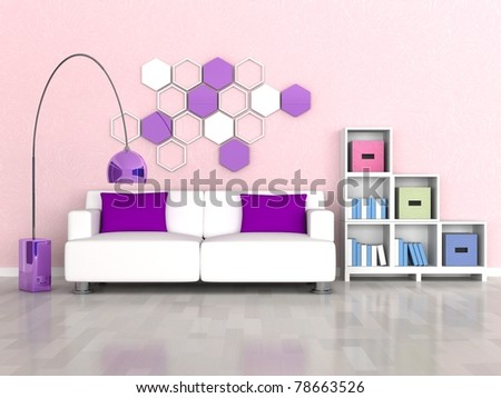 interior of the modern room, pink wall, white sofa - stock photo