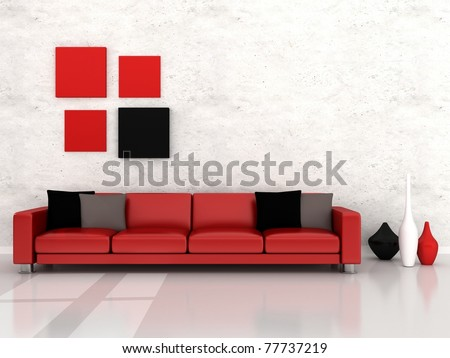 Interior of the modern room, white wall and red sofa