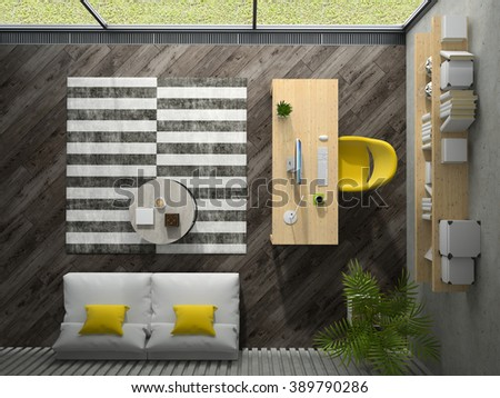 Interior of the office with yellow armchair top view 3D rendering