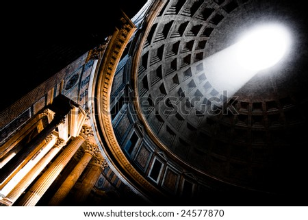 Interior of the Pantheon in Rome - stock photo