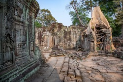 Interior of the Preah Khan (or Royal Sword) Temple dated from 12th Century in Angkor Wat, near Siem Reap, Cambodia.