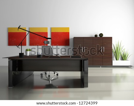 Interior of the private office 3D rendering