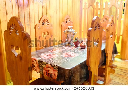 interior of the restaurant in the Russian style