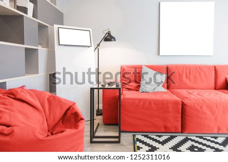 Interior of the room in light colors. Mockup in colors of the year 2019 living coral