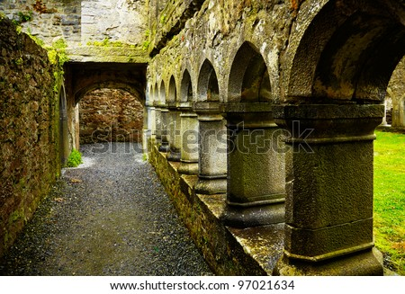Interior of the Ross Friary in summertime on a rainy overcast day, Ireland.