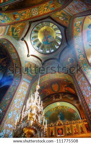 Interior of the Russian Orthodox church in Petergof