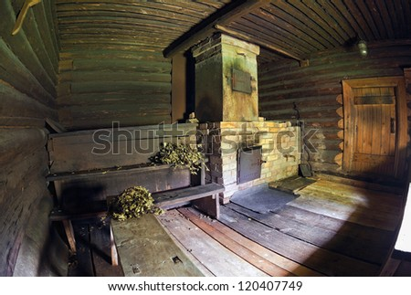 Interior of the Russian traditional wooden bath - stock photo