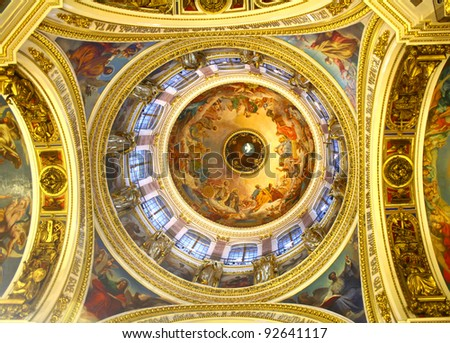 Interior of the Saint Isaac's Cathedral in St. Petersburg, Russia