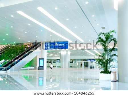 Interior of the shanghai pudong airport,modern indoors blackground.