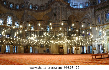 Interior of the Sultanahmet Mosque (Blue Mosque) in Istanbul.