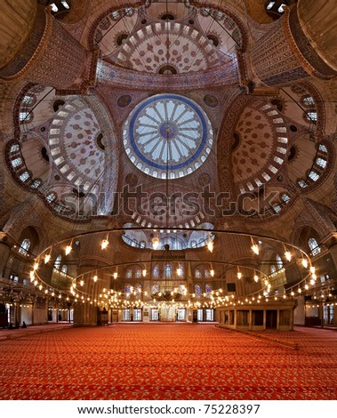 Interior of the Sultanahmet Mosque (Blue Mosque) in Istanbul, Turkey