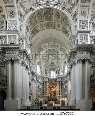 Interior of the Theatine Church (Theatinerkirche) in Munich, Germany