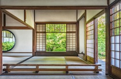 Interior of traditional Japanese house with rice paper doors