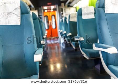 Interior of  train cabin - Shutterstock ID 319607816