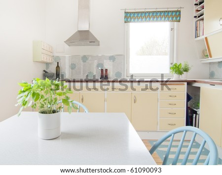 interior of vintage kitchen and a table with basil in the foreground