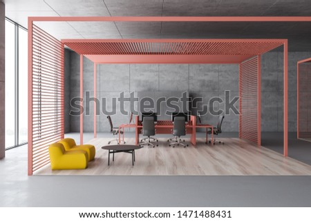 Interior of waiting room with yellow armchairs and coffee table and open space area with pink computer desk in background. 3d rendering