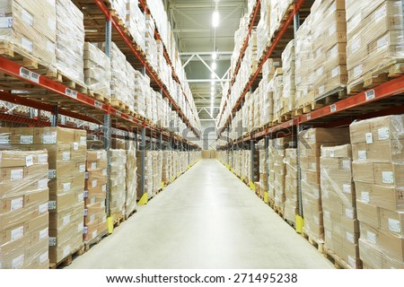 interior of warehouse. Rows of shelves with boxes #271495238