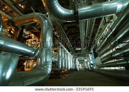 interior of water treatment plant - stock photo