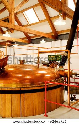 interior of whisky distillery, Cape Breton, Nova Scotia