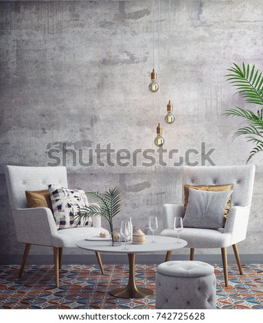 Interior of white and gray modern restaurant, interior background, 3D rendering, 3D illustration