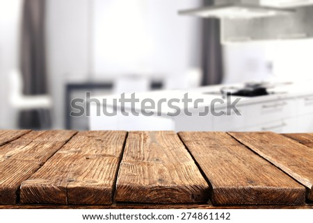 interior of white kitchen and dirty old table  #274861142