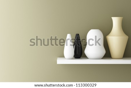 Interior of yellow ochre wall and ceramic on shelf decorated, 3d rendering